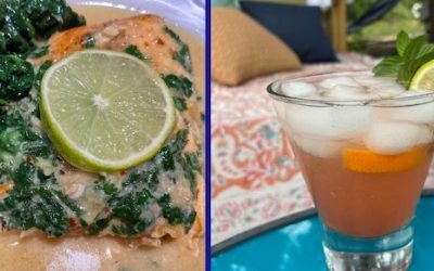 """Coconut Ginger Salmon & """"A Shot of Vitamin C""""  Cocktail"""