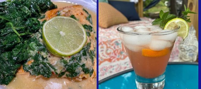 "Coconut Ginger Salmon & ""A Shot of Vitamin C""  Cocktail"